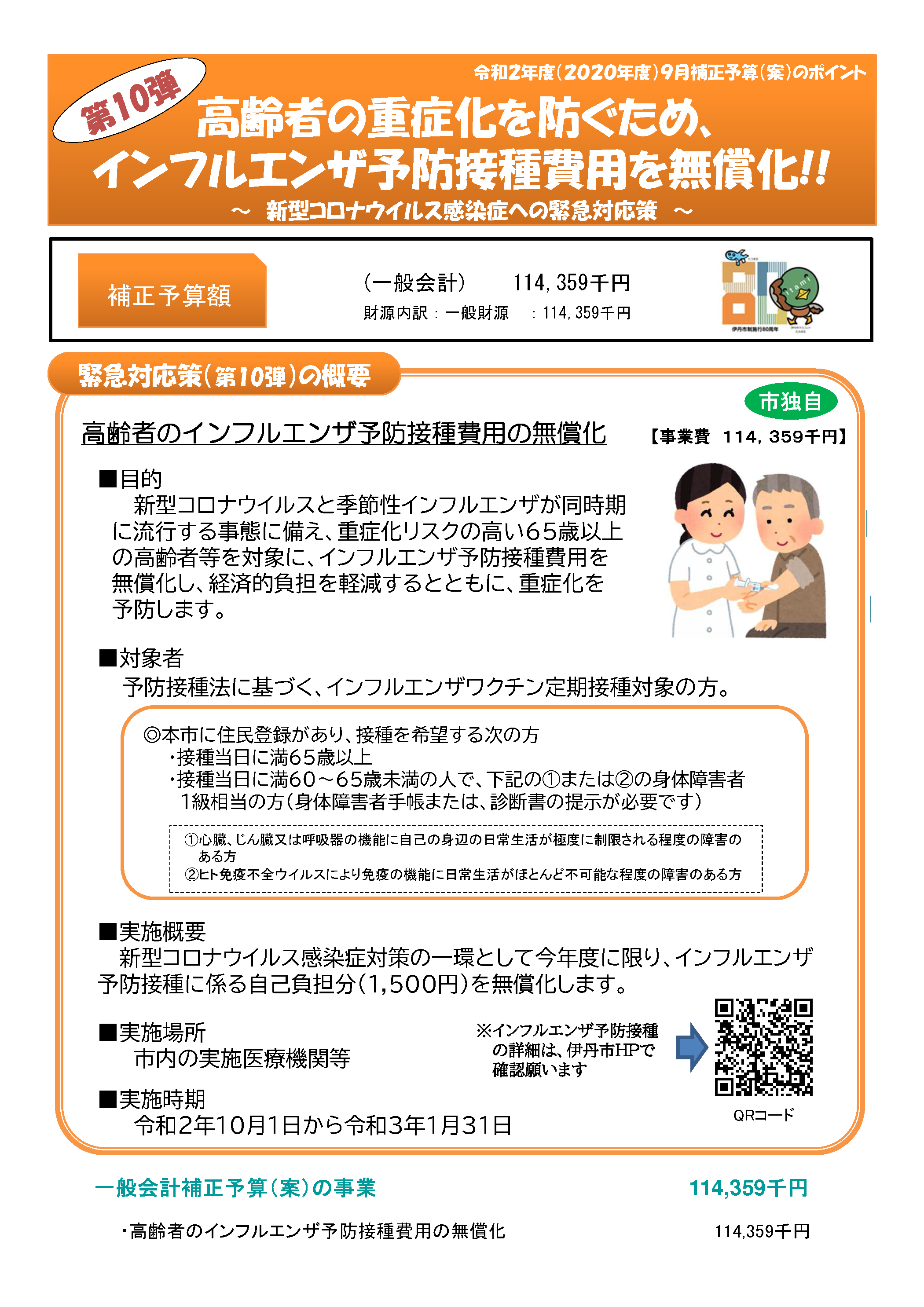 高齢者インフル予防接種無償化